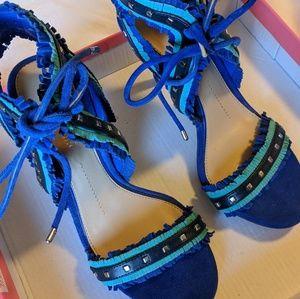 Gianni bini blue wedge heels